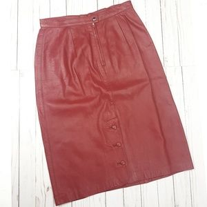 Vintage Leather Red Pencil Skirt Sz 6
